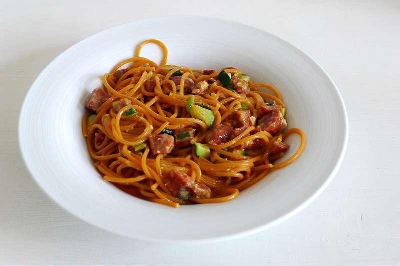 Spanische Spaghetti mit Chorizo und Eiern